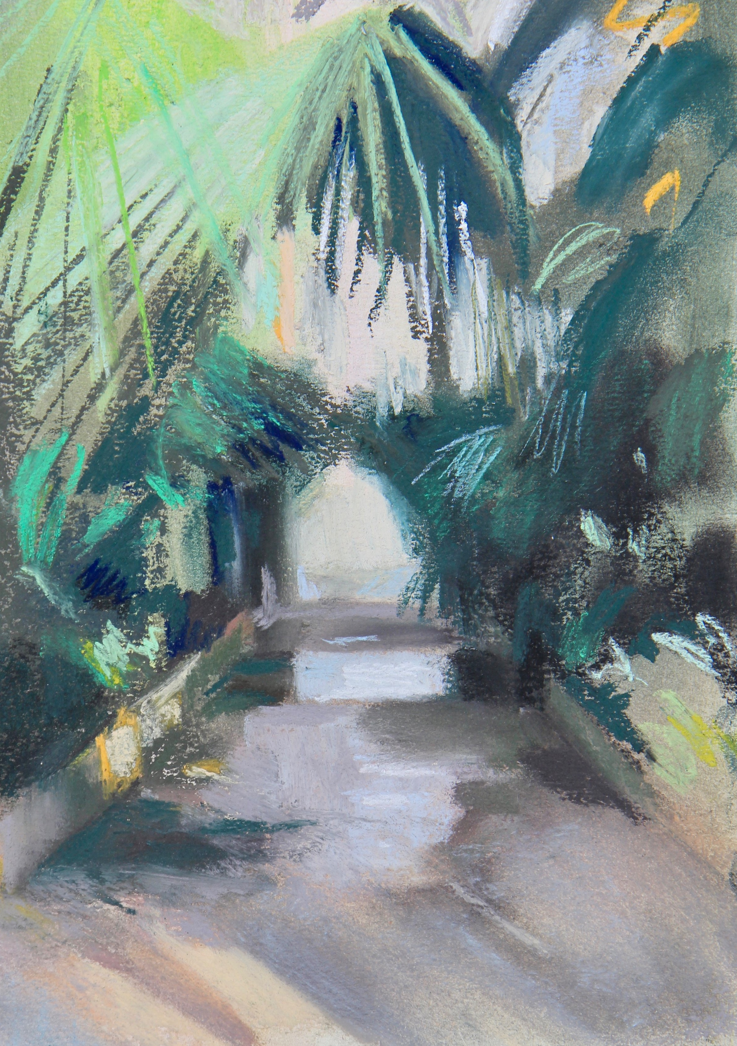 Palm House pathway - 20 x 30cm, pastels on paper. Mounted on acid-free board £225