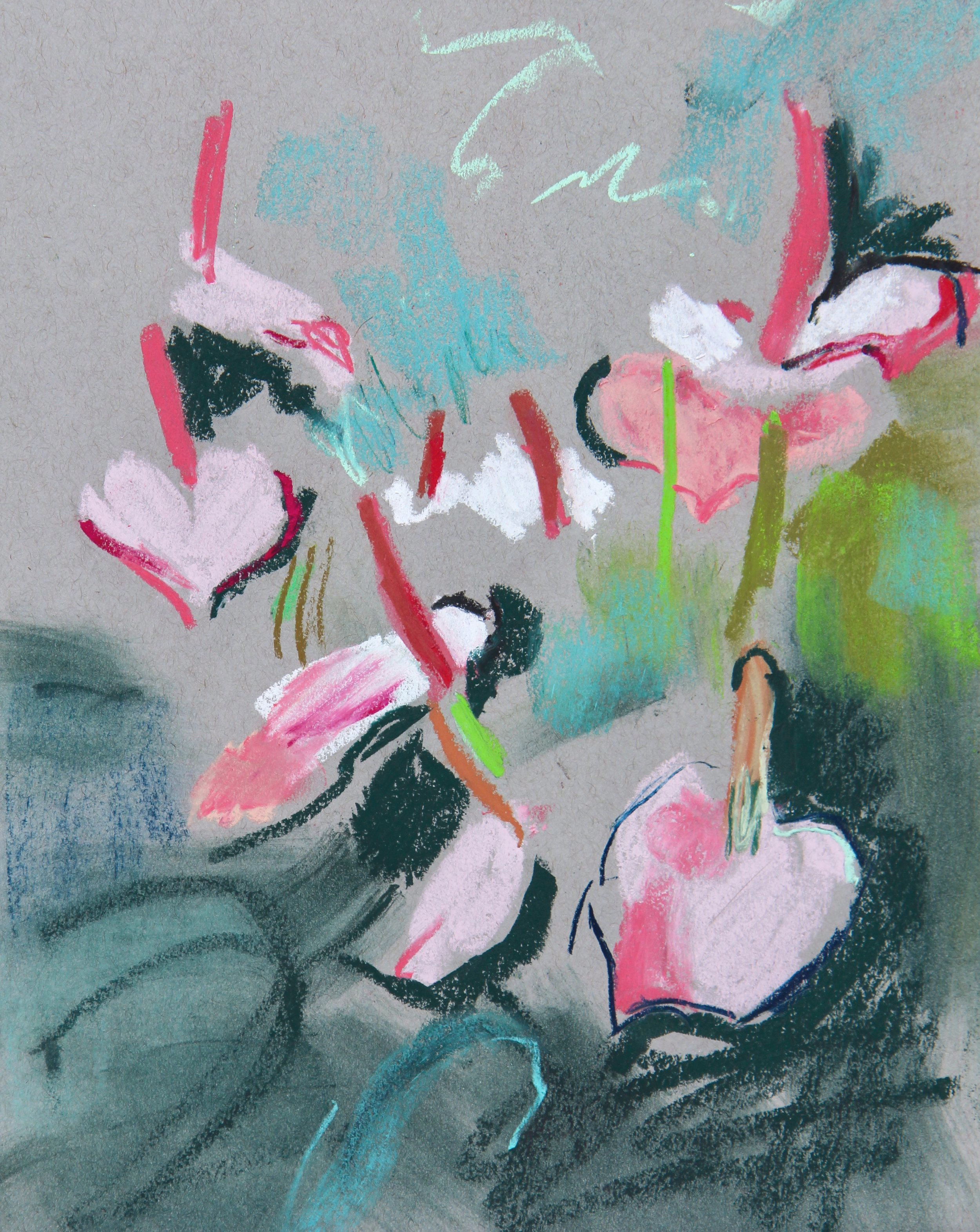 plant study - anthuriums - 21 x 29cm, pastels on grey paper. Mounted on acid-free board £125