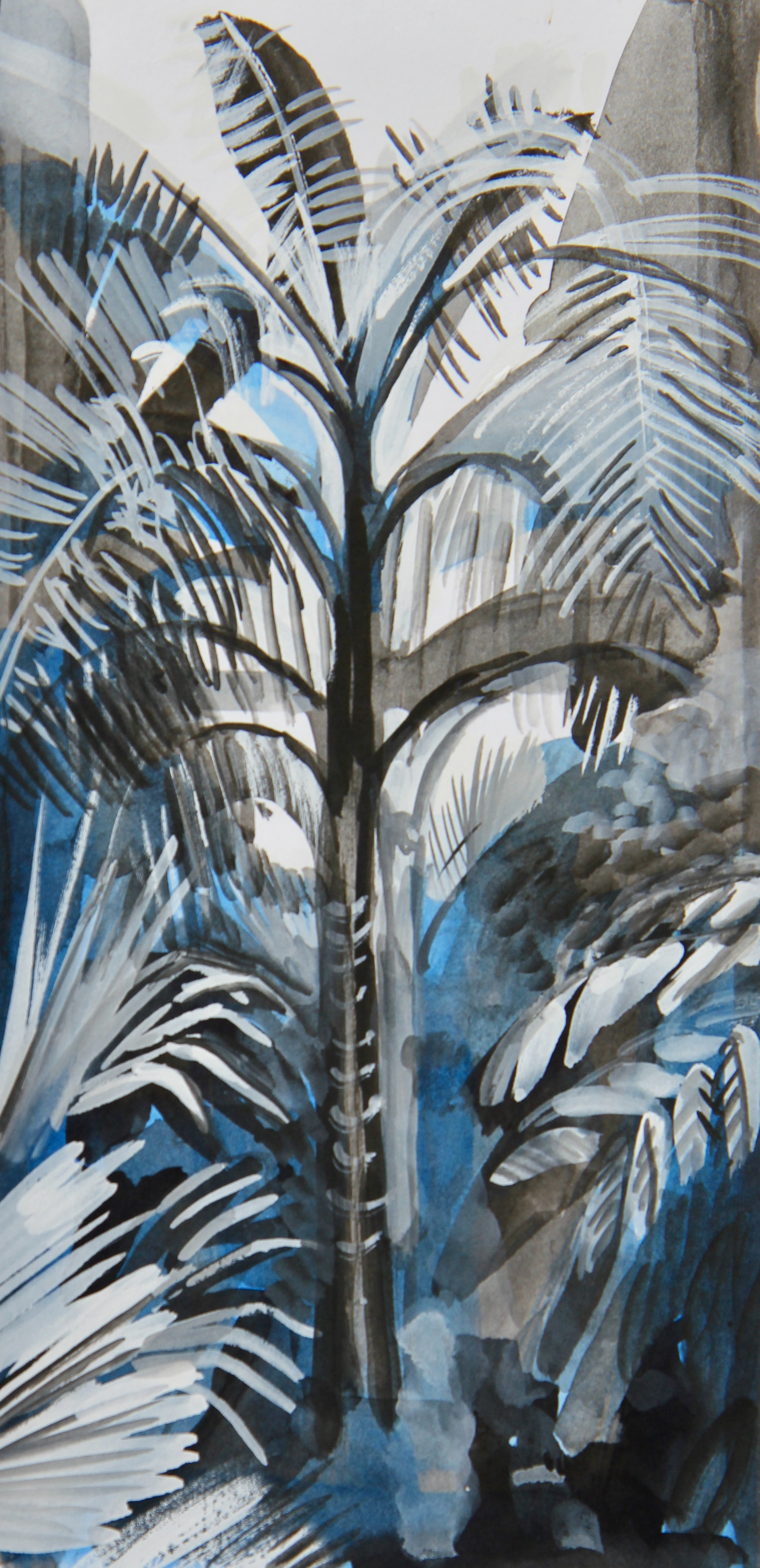 Large Palm - 9 x 19cm, inks and gouache on paper. Mounted on acid-free board £125