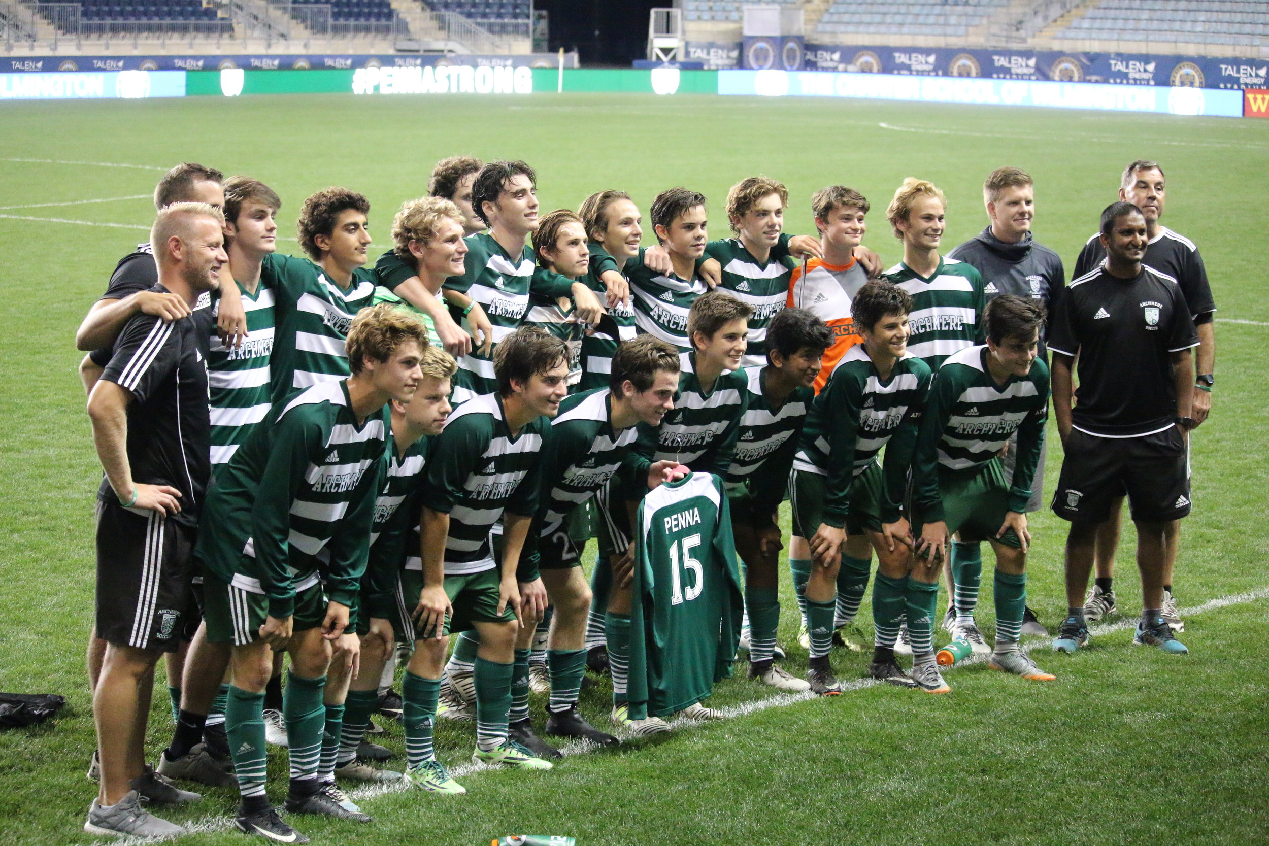 Archmere Varsity Soccer Team at Talen Energy Stadium