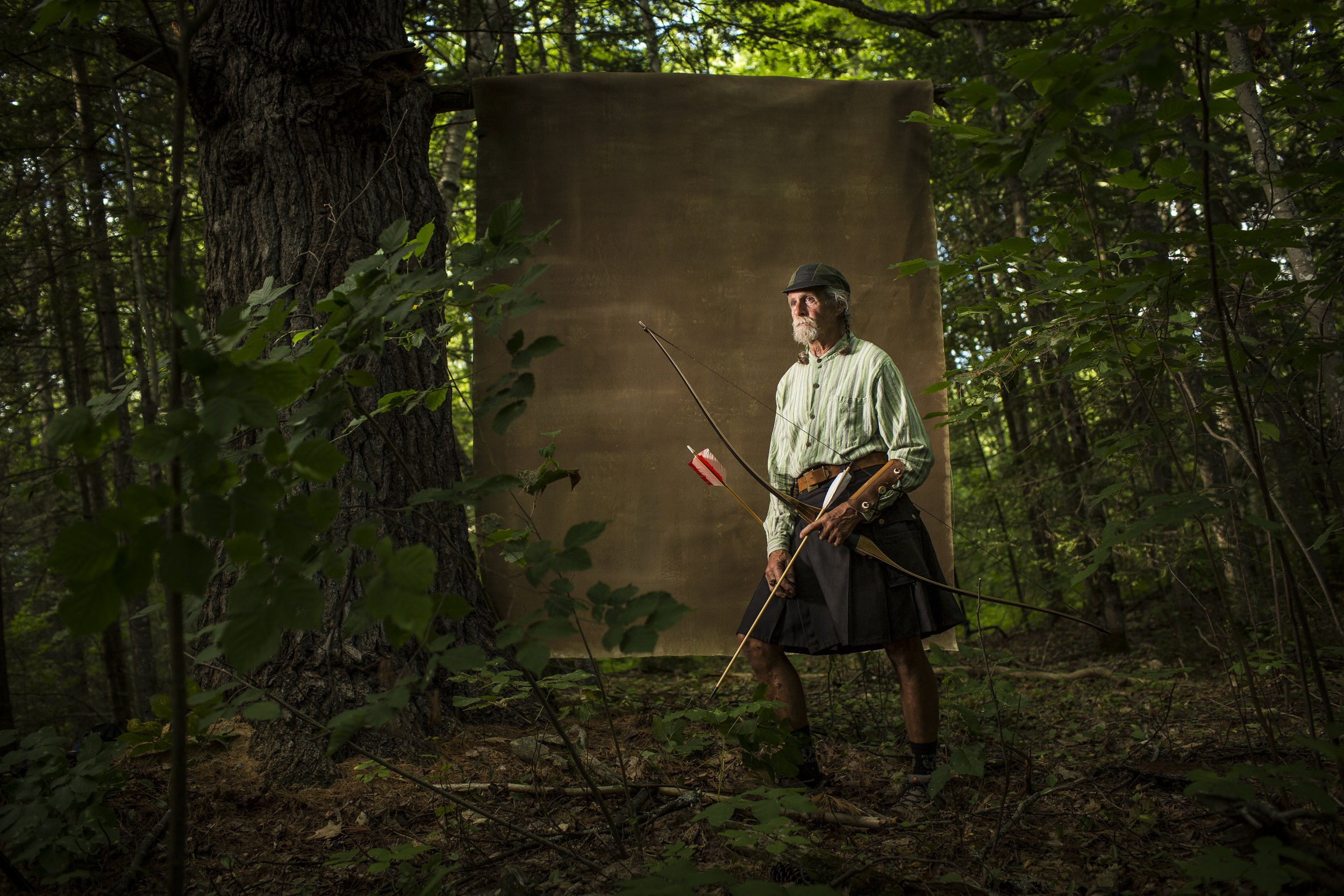 Avid outdoorsman, Bob Lombardo, 69, photographed in Orono, Maine. Bob spends much of his time on trails, either out working on target practice shooting rotten tree stumps with the arrows he makes or on one of his many bikes.
