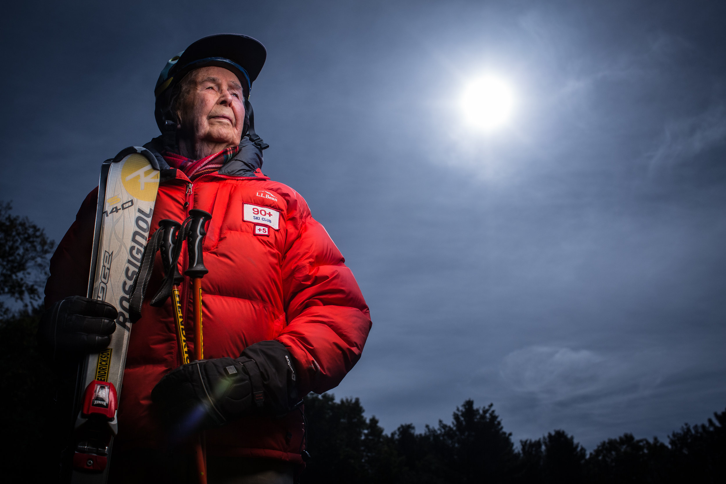 "Ed Hendrickson, 98, of Brewer, Maine, still plans to do some downhill skiing once the snow starts to fly; in 2003 Hendrickson was the recipient of Sugarloaf's Paul Schipper's Iron Man Award. While he's been an avid skier most of his life and the dean of students at Northern Maine Vocational Technical Institute for 17 years, he was also a naval dive-bomber in WWII. Ed flew (and on a couple occasions) had to crash-land planes he was flying. In combat Hendrickson flew SB2C Helldivers. Over the span of just a few days, he shot down one enemy plane only to be hit by enemy fire a couple days later, losing his landing gear on one side, and crash-landing on an aircraft carrier--just the 14th aircraft carrier ever built, according to Hendrickson. ""After they took the gun camera off the plane, they just pushed it overboard,"" he said. ""That's just how they did things."" On a previous occasion he wasn't able to land on the carrier and ended up careening off into a lake, where he narrowly escaped being dragged 130 feet to the bottom with his plane. That particular plane, a Douglass SBD Dauntless, was brought back to the surface in the 1990s and now can be seen on display at the National Museum of Naval Aviation in Pensacola, Florida."