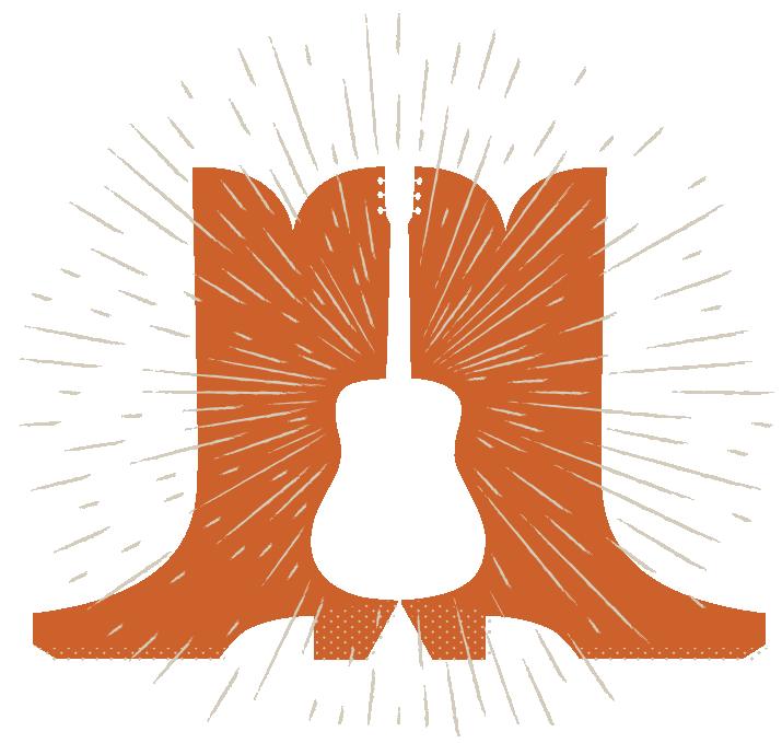 Cowboy boots & guitar illustration