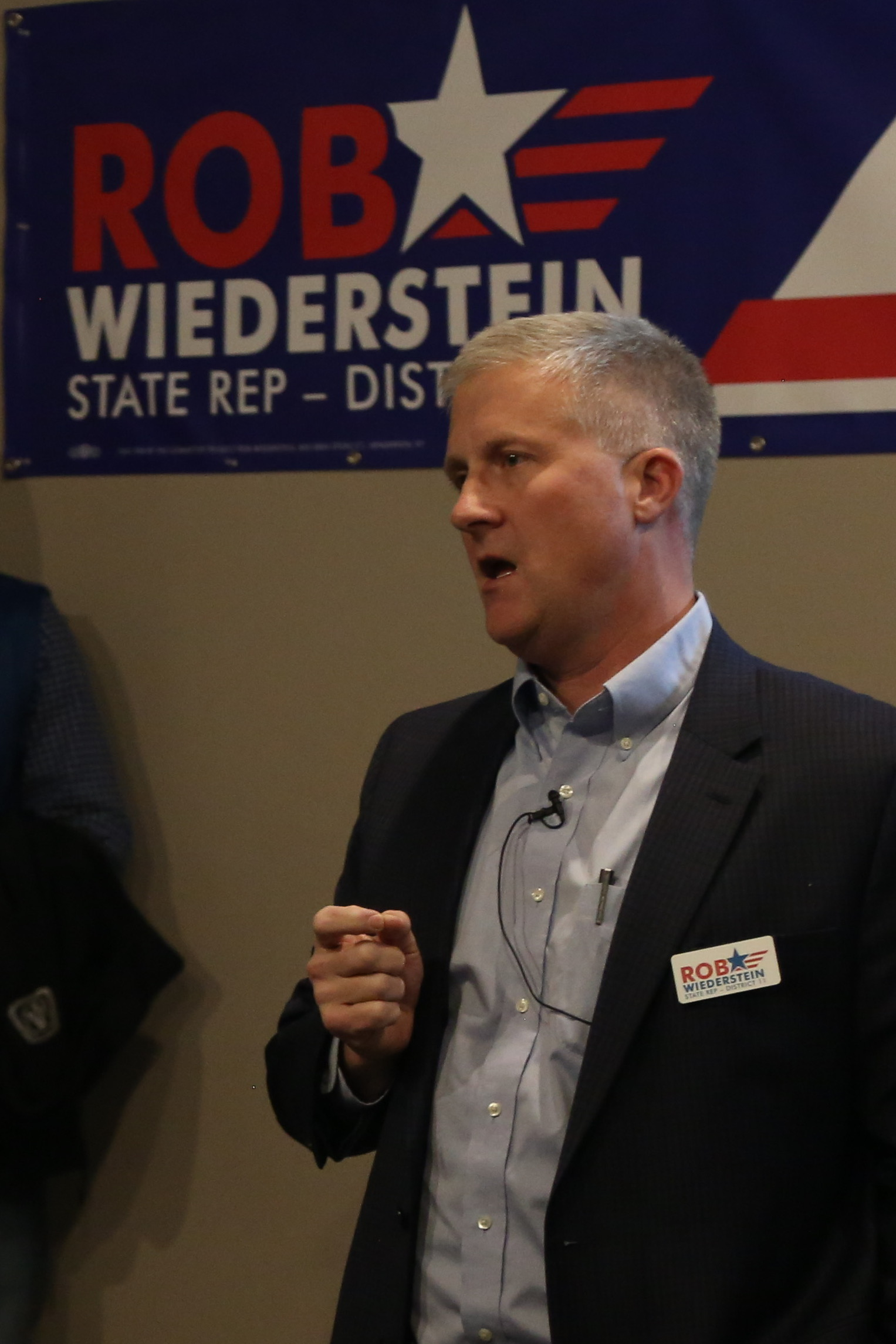 Rob addressing supporters at the campaign kickoff on January 18, 2018, in Henderson, Kentucky.