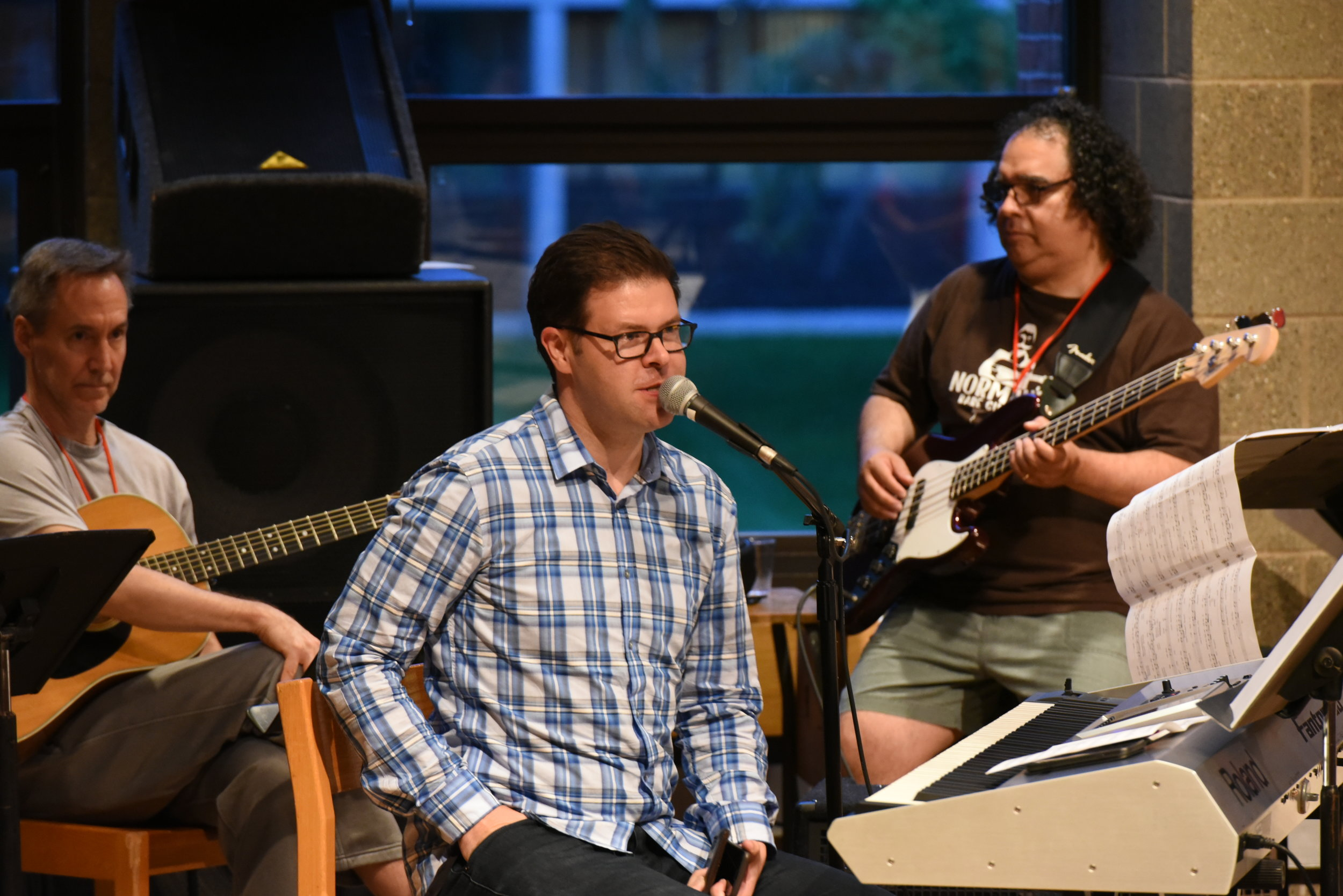 Composers Tony Alonso and Jaime Cortez during the 2018 Welcome Concert.