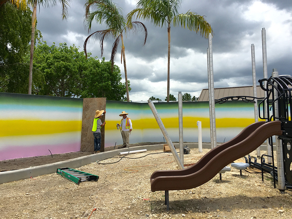 Mural, children's play area, Zoo Miami, 2016, 8′ x 140′