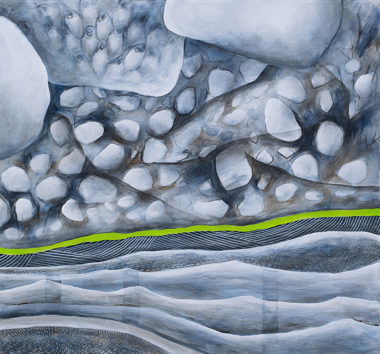 "BITUMEN - acrylic on canvas 26""x28"""