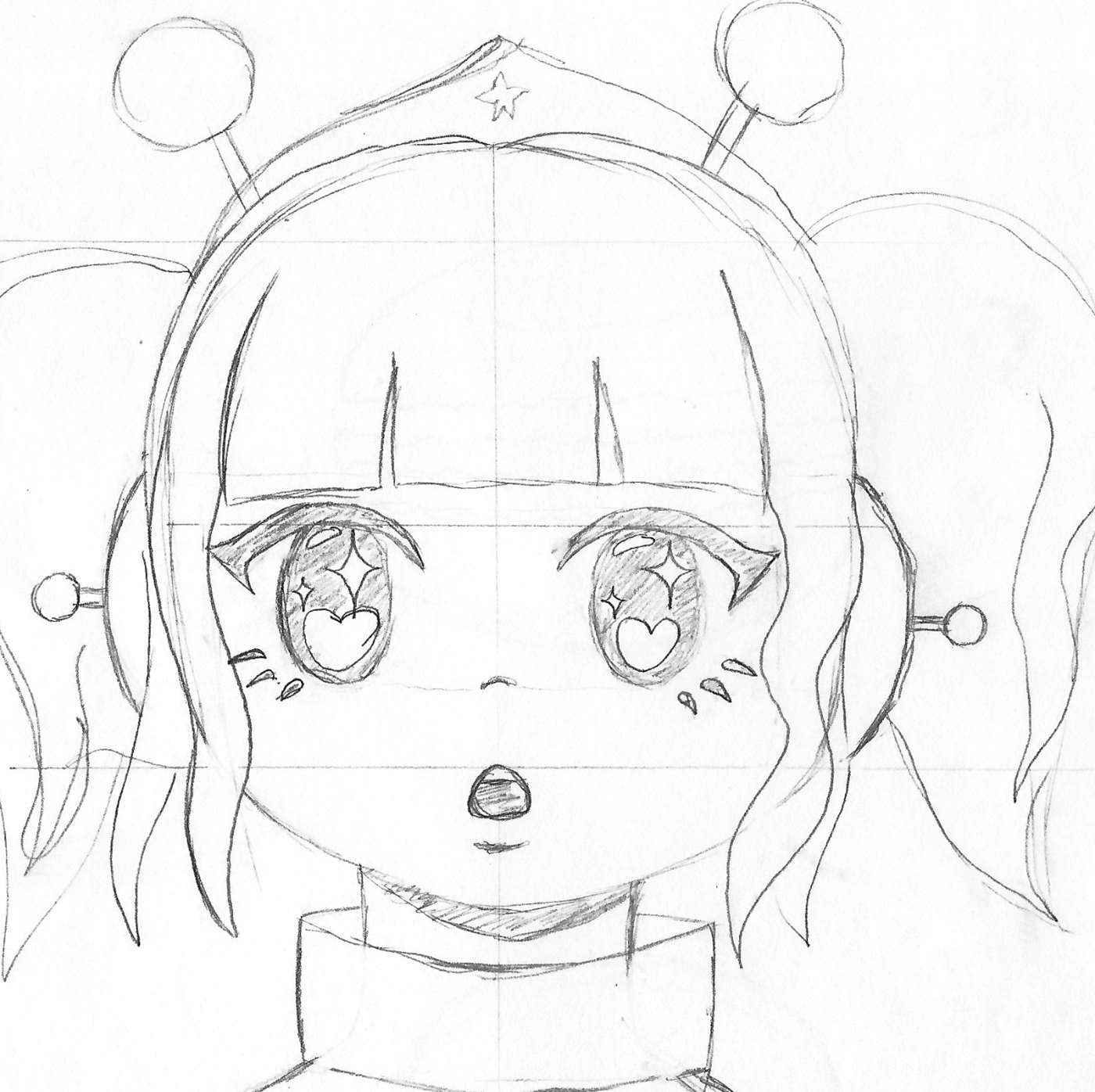 The illustration started out as a traditional sketch that, while quite rough, could be edited digitally. Many features on the girl were later removed or altered, like the eyelashes and antenna were replaced with stars and a bow.