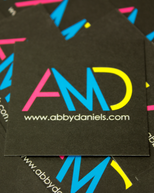 Seen here is an example of my logotype being used on my first business card. The colors were chosen as they are the main components of printing, which is what I specialize in.