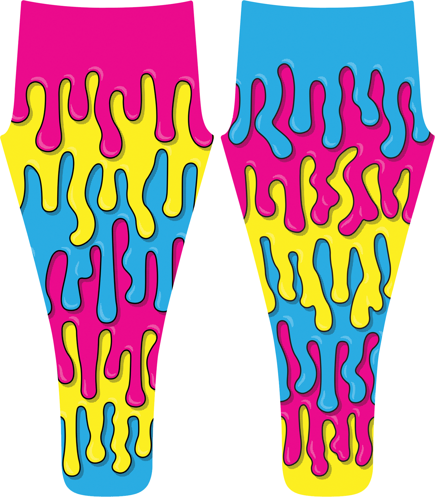 The file size for each leg was massive, due to the both canvases wrapping across the length and width of each leg and foot. The illustration also had to cover the area of the fabric hidden in the seam allowance to avoid any blank spots, much like how you fill a digital canvas to the bleed line to avoid white hairlines when cutting the printed version.