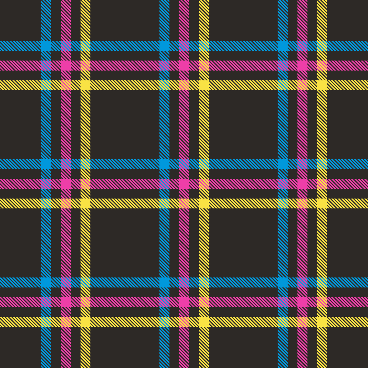 Each piece is connected through the theme of print: both through production and aesthetics. To continue the punk motif, I designed a plaid tile that could be repeated on fabric. The process to build this pattern is boiled down to making thin diagonal shapes to fill the vertical and horizontal stripes and then aligning said stripes so that they line up and repeat properly as a tile.