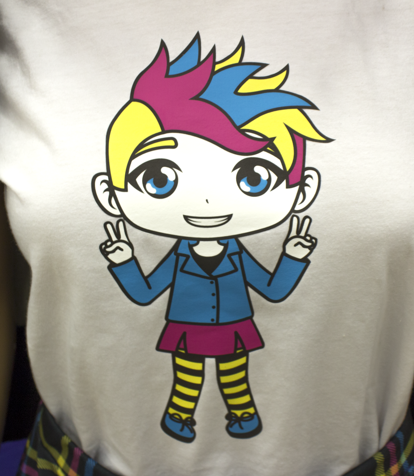 A punk girl was chosen for the illustration to create a sense of rebellion, which can also be seen through the loud color palette. This set of colors also connects to print as they are the primary colors used in the printing process. In the case of the top, the illustration was printed onto vinyl, cut, and transferred to the fabric by the  ASU Print Lab .
