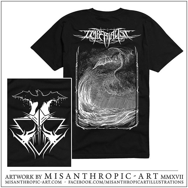 "As we keep liquidating our old merch we have made room for yet another fantastic design from none other than @misanthropicartillustrations. This is for another song off our upcoming record. It's based off ""umbra tempest"" and we will have these available tomorrow at our show at the @5starbar with @gravegnosisofficial @beliathofficial666 Malignant obscurity and Bound for the ground. #metal #blackmetal #heavymetal #deathmetal #livemetal #music #shirt #metalshirt #design #artwork #illustration"