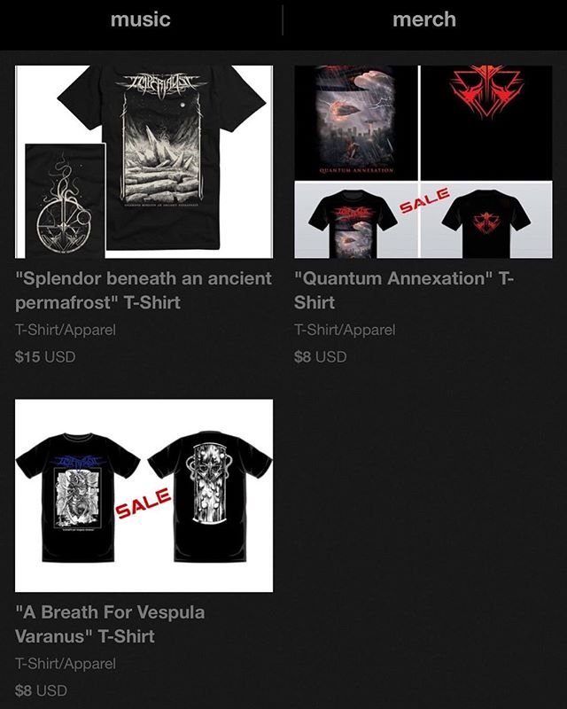 """We have updated our Bandcamp Merch section. As of today this is all that there is available. Our new design """"Splendor beneath an ancient permafrost"""" has been added and available for purchase online. For quantum, there is only 1 3XL available before the design is gone for good. And all sizes available for the """"breath of vaspula"""" design, that one is also running low. #merch #heavy #metal #heavymetal #blackmetal #bandcamp #artwork #shirt #losangeles #california"""