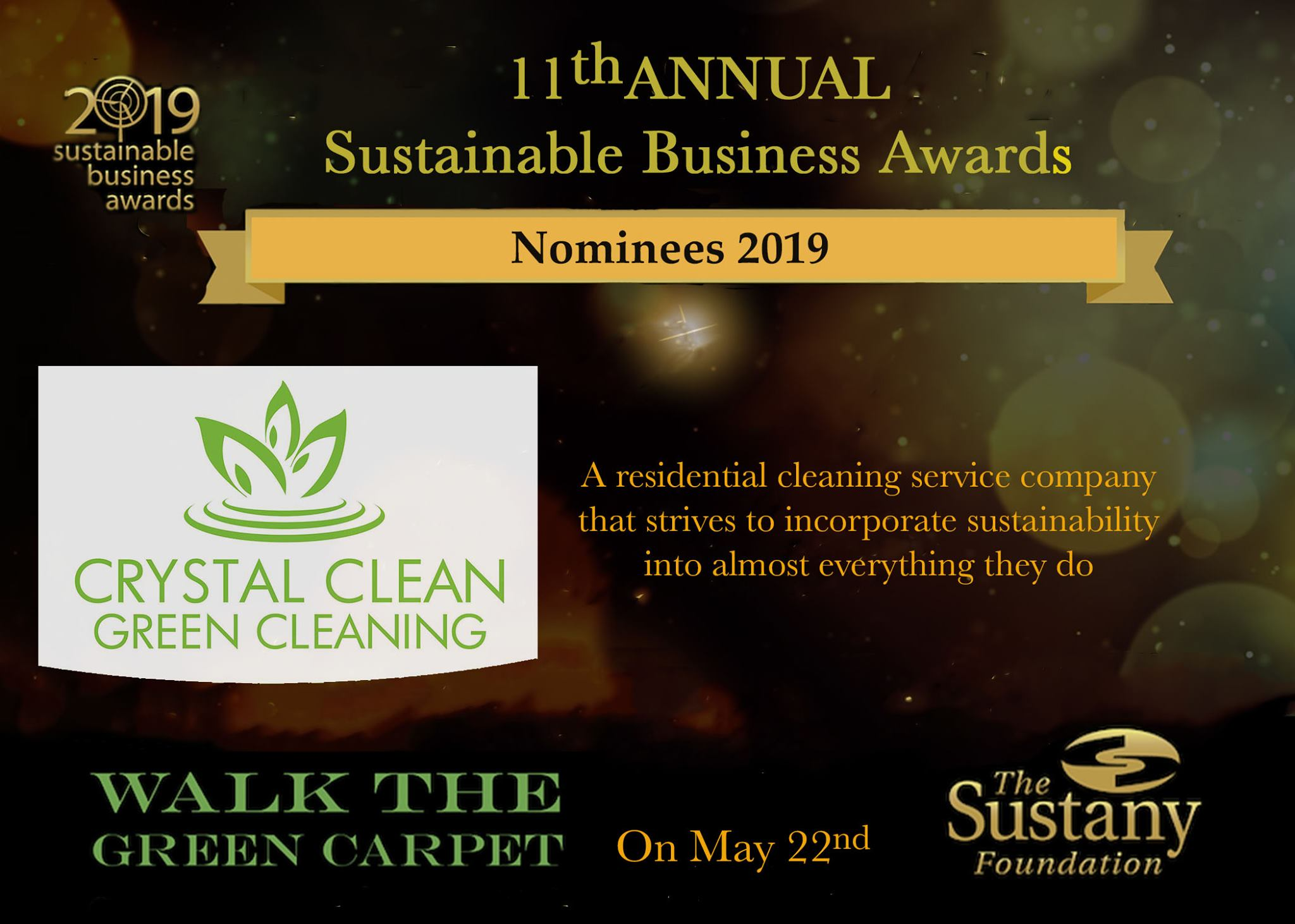Sustainable Business Awards - 2019 Nominee in the Small Business Category - The Award Ceremony to be hosted at The Florida Theatre in Tampa, May 22nd, 2019