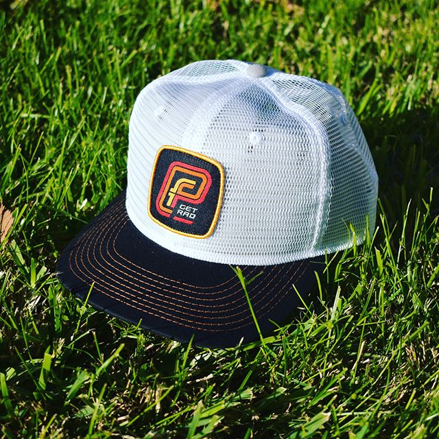 The PF Classic. Full mesh #truckerhat with semi curved bill, and PF #getrad #patch.  Use code TRUCKYEAH for free shipping.  #truckerhat #snapback #ironman #cycling #skateboarding #surfing #stoked