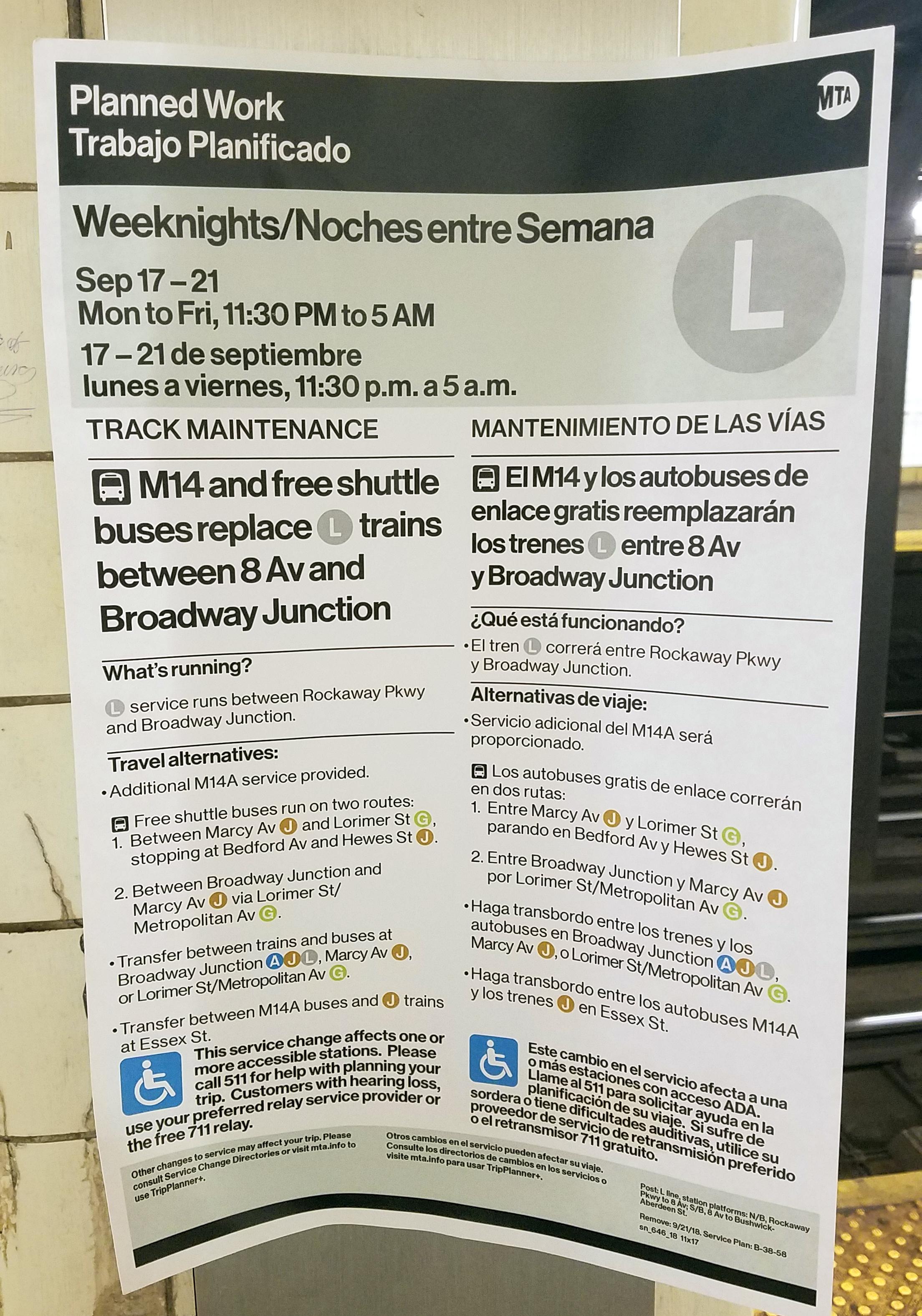 MTA service change sign