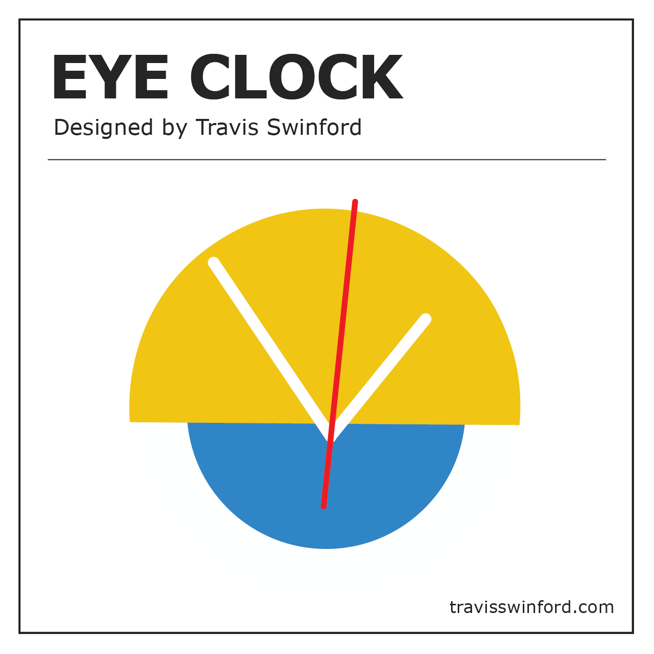 "The ""Eye Clock"" - was designed in 2018 and is made to order. Visit the shop for available colors and stock. Photos by Claire and Rosie."
