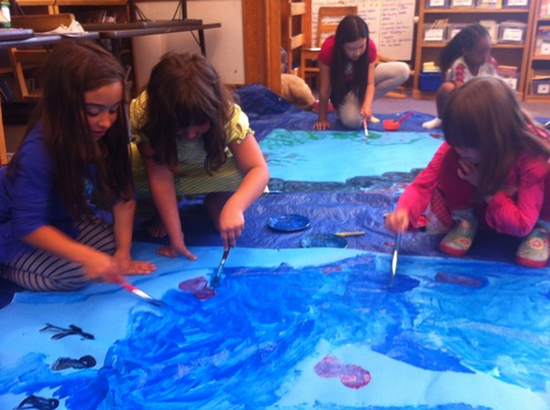 """Students painting the set for our grade level production of """"I Am Sausal Creek."""""""