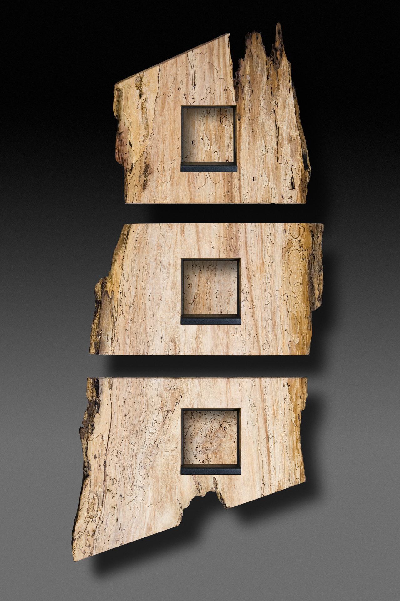 """Triple Spalted"" 7 foot wall eco-sculpture"