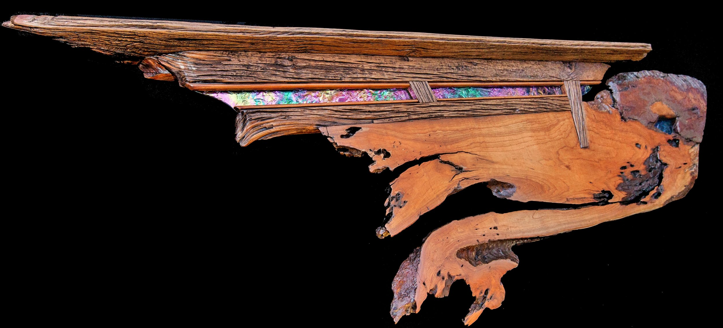 """Passing Through"" Headboard/Mantel/Shelf 5ft wall eco sculpture"