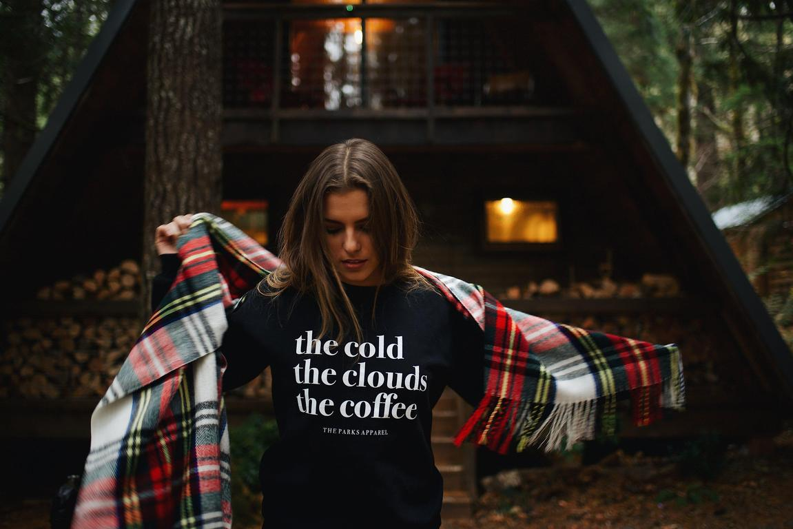 Click to shop The Parks Cold, Clouds, & Coffee Crewneck —>