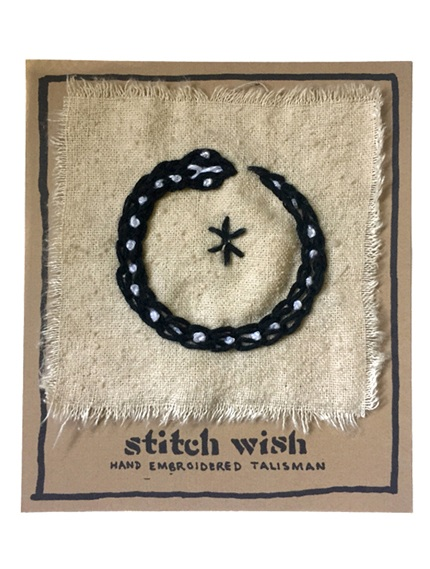 ouroboros hand embroidered talisman stitch wish