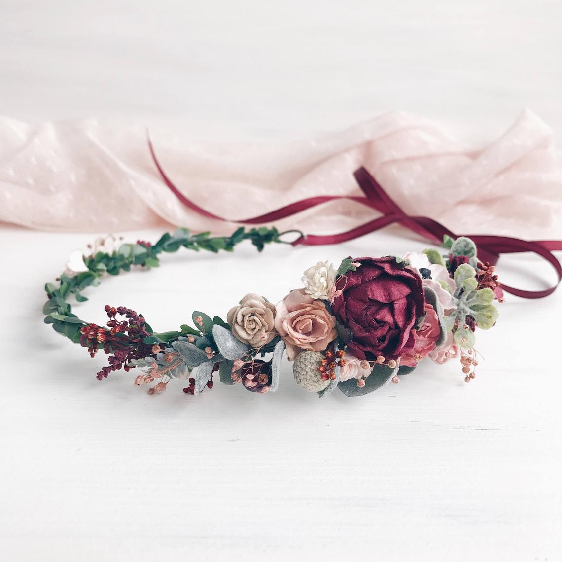 Gorgeous flower crown from Etsy seller: https://www.etsy.com/listing/247034277/burgundy-flower-crown-fall-bridal-flower