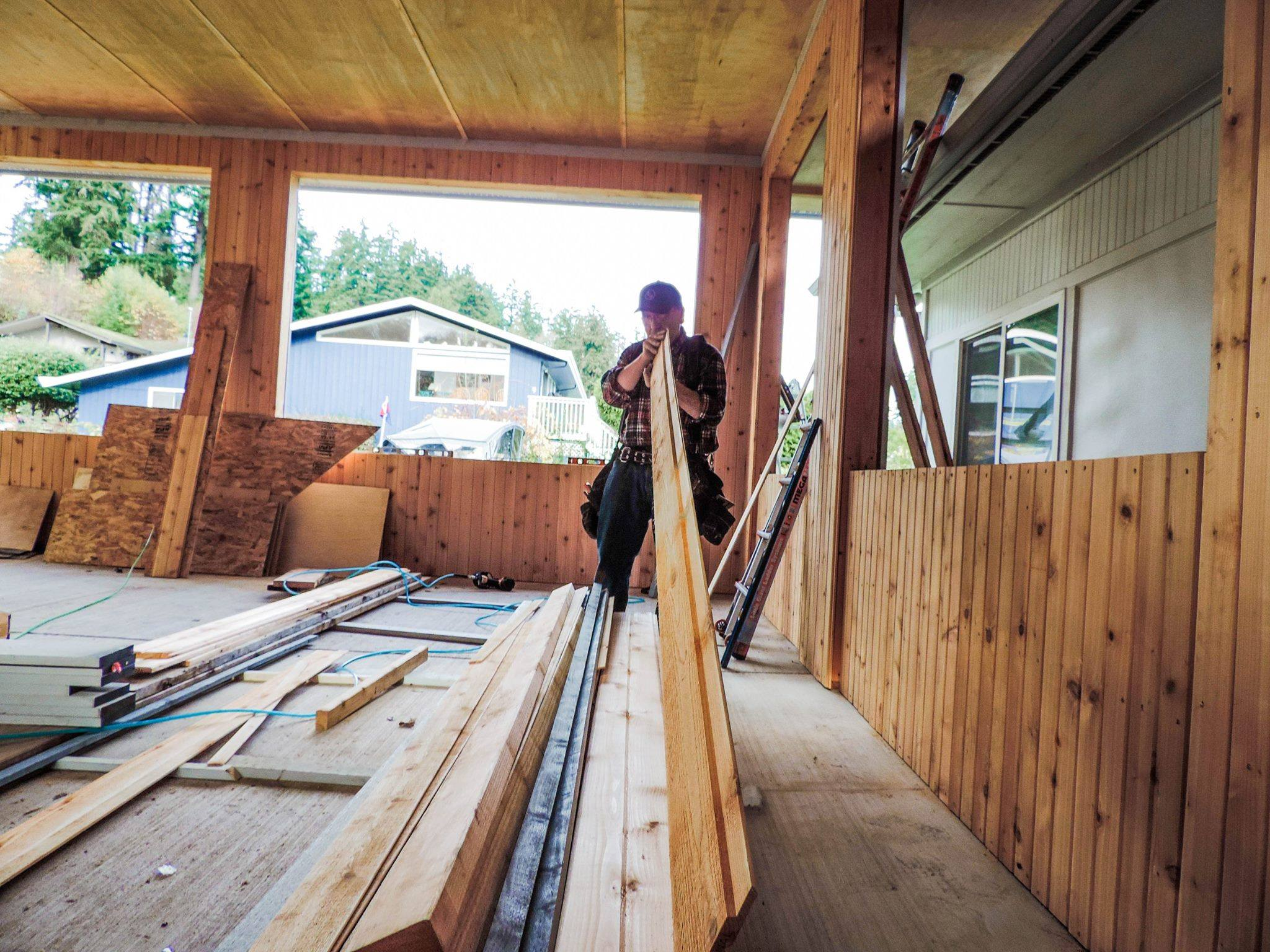 One of our terrific carpenters on a construction / remodel job in Kitsap.
