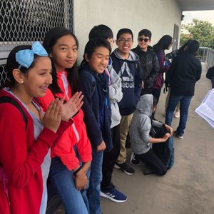 9 Dots 2019 AP CSP students line up to take the test!