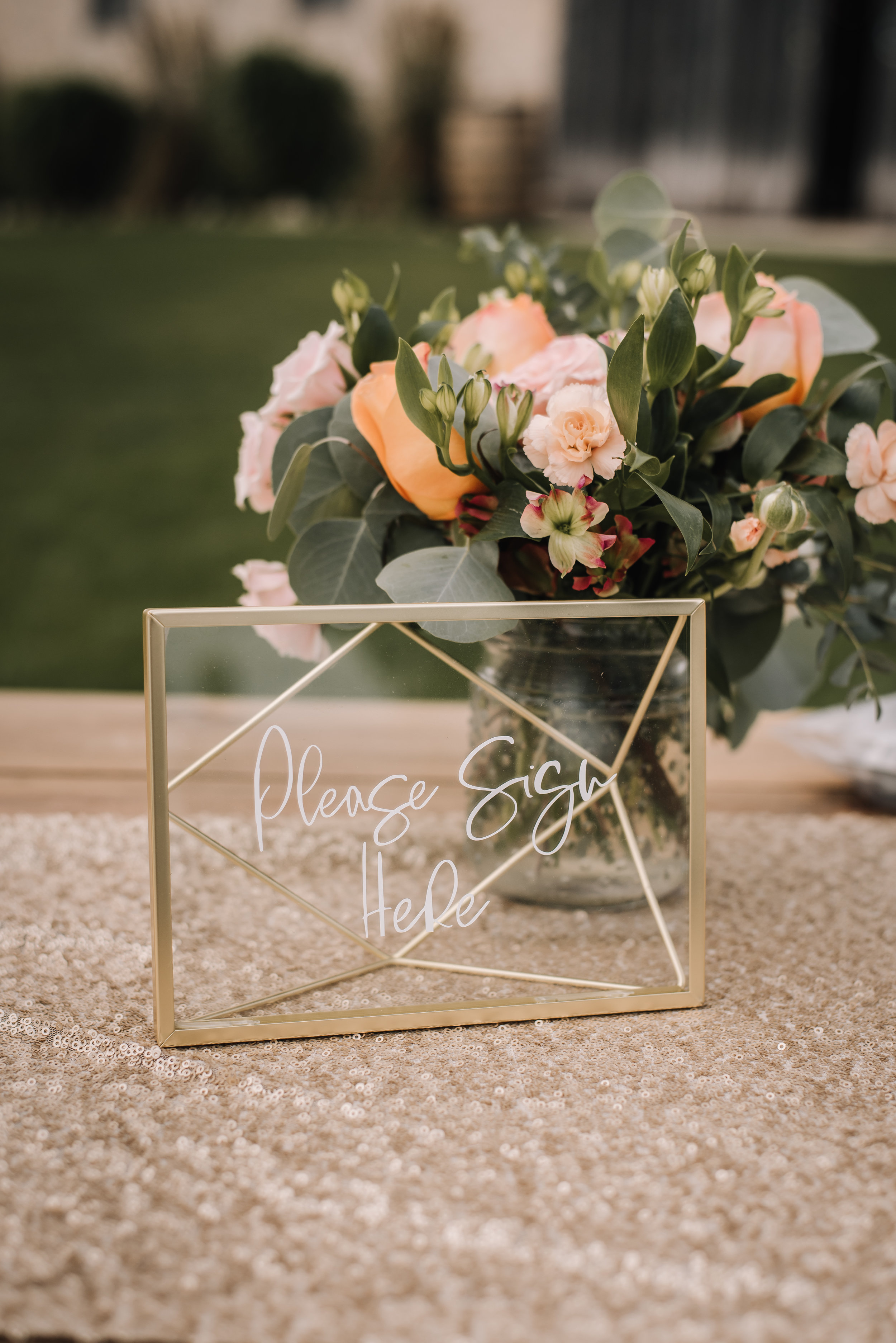 When Kristen and I first met she mentioned that didn't want her wedding too look too rustic so instead of going with wood table numbers we did these gorgeous geometric table frames were the perfect touch to the day.  These gold geometric table frames are now available to rent!