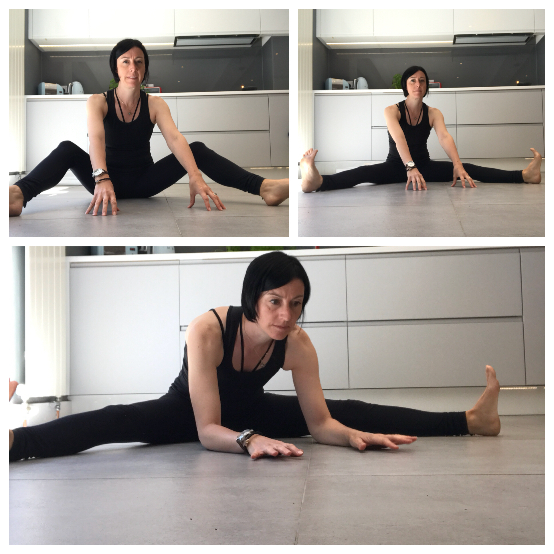 There are a few stages to get going. You can start with bent legs and just lean forward. Eventually you should be able to get the legs straight and the elbows on the floor. Then you've done it! I'll be posting video instructions. Follow me on Instagram  @ruthjaneyoga