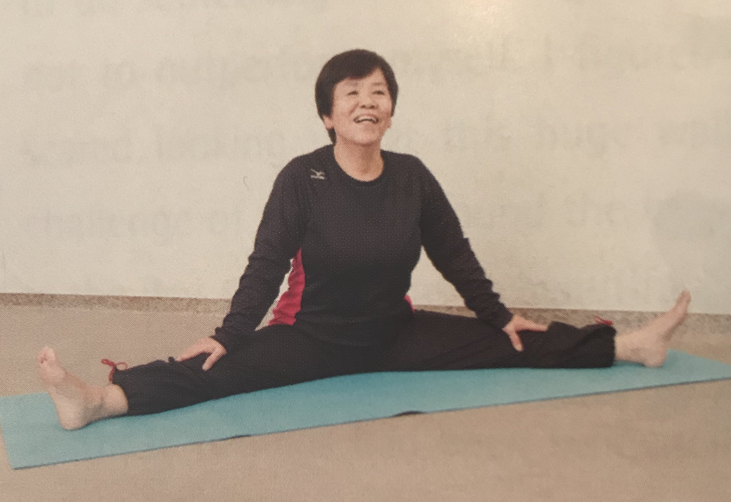 This is a Japanese yoga student called Sugako. She started yoga at age 70 and this is her at 72. It took her two months to achieve this. She's 72. You've got no excuse!!
