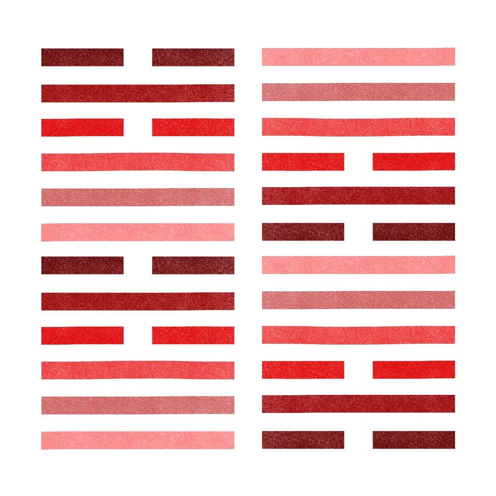 I Ching Hexagrams   Exploring the meaning and feelings of the ancient Chinese spiritual practice in colors and broken / unbroken lines.