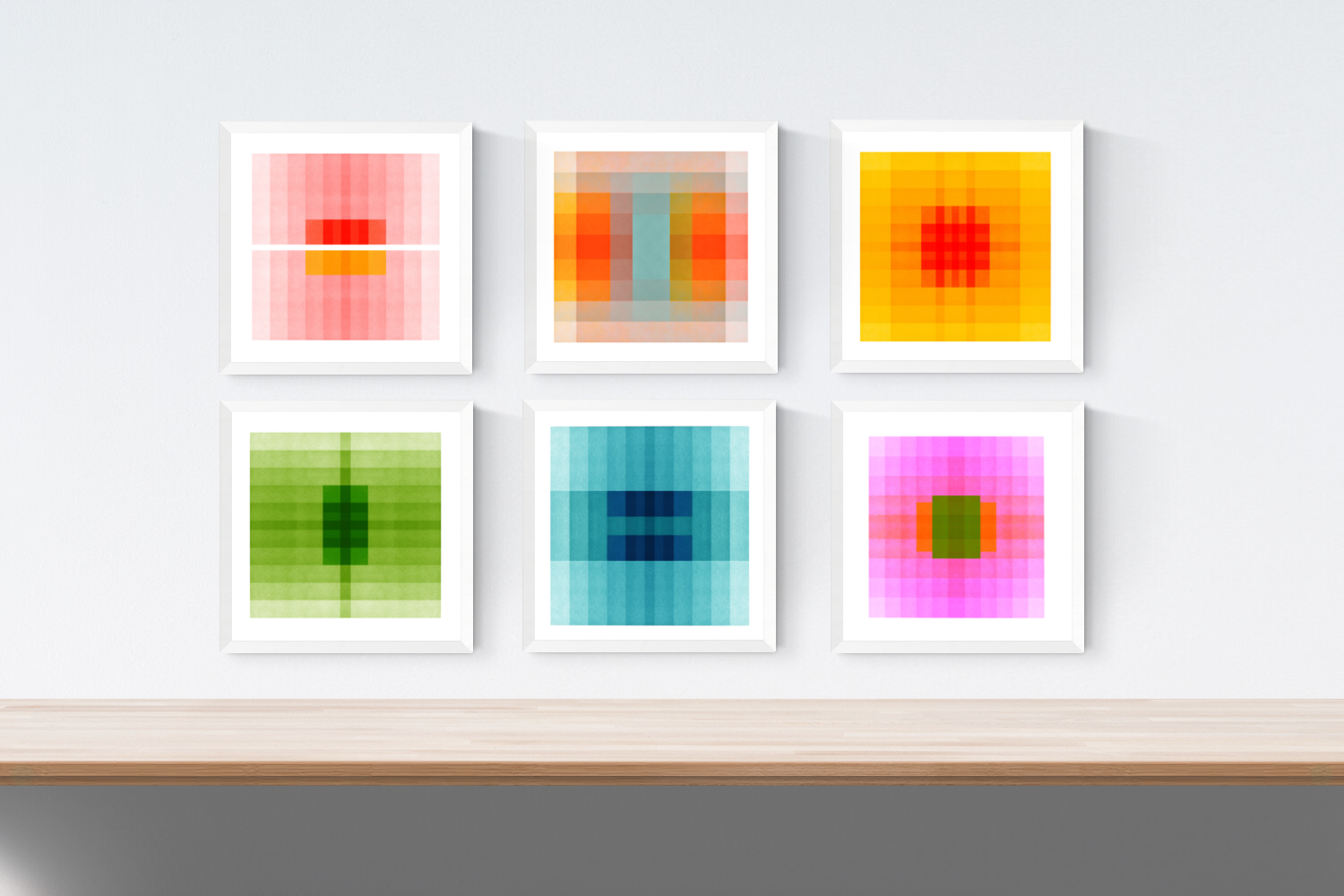 A framed set of six Color Space images.  Top Row Left to Right:  Color Space 27 (Pink, Red & Yellow), Color Space 40 (Persimmon, Turquoise & Fawn), Color Space: Sun.  Bottom Row Left to Right:  Color Space 29 (Spring Green), Color Space 30 (Ocean Blue), Color Space 36 (Ultraviolet & Green)