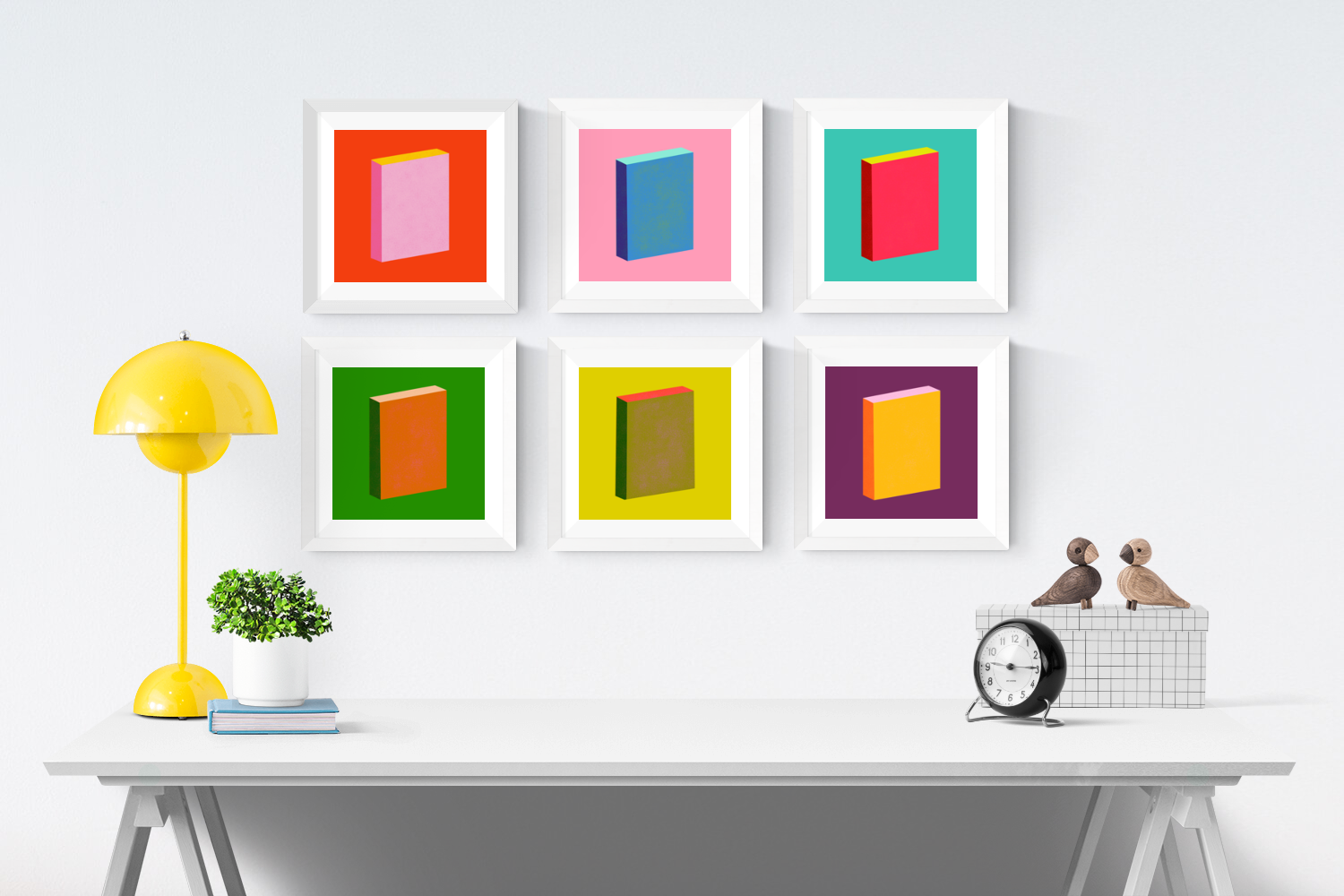 Color Books Series.  Top Row Left to Right:  Red + Pink, Blue + Pink, Turquoise + Red.  Bottom Row Left to Right:  Green + Umber, Yellow + Olive; Eggplant + Yellow.