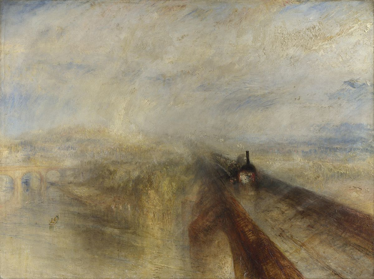 JMW Turner (British, 1775-1851)  Rain, Steam, and Speed — The Great Western Railway  (1844) Oil on canvas. 36 x 48 in. National Gallery, London.