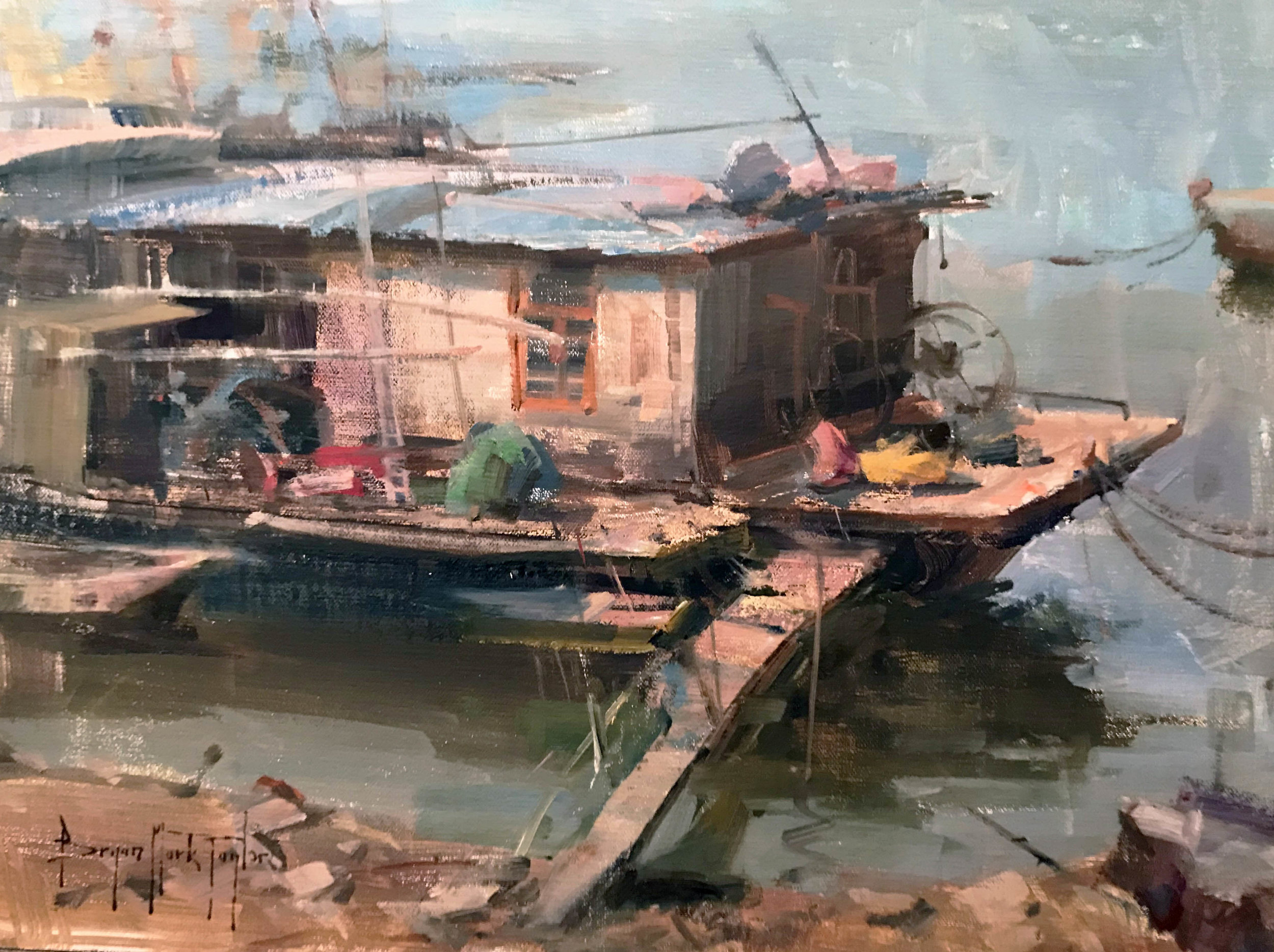 Bryan Mark Taylor. Tanka House Boat (2017) Oil on panel. 11 x 14 in.