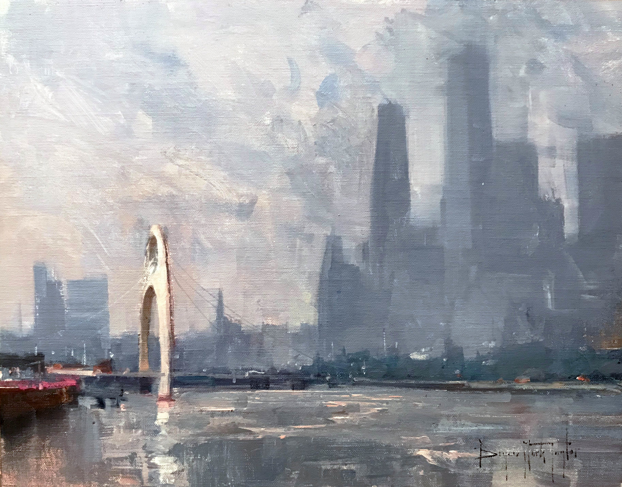 Bryan Mark Taylor. Guangzhou Skyline (2017) Oil on panel. 11 x 14 in.