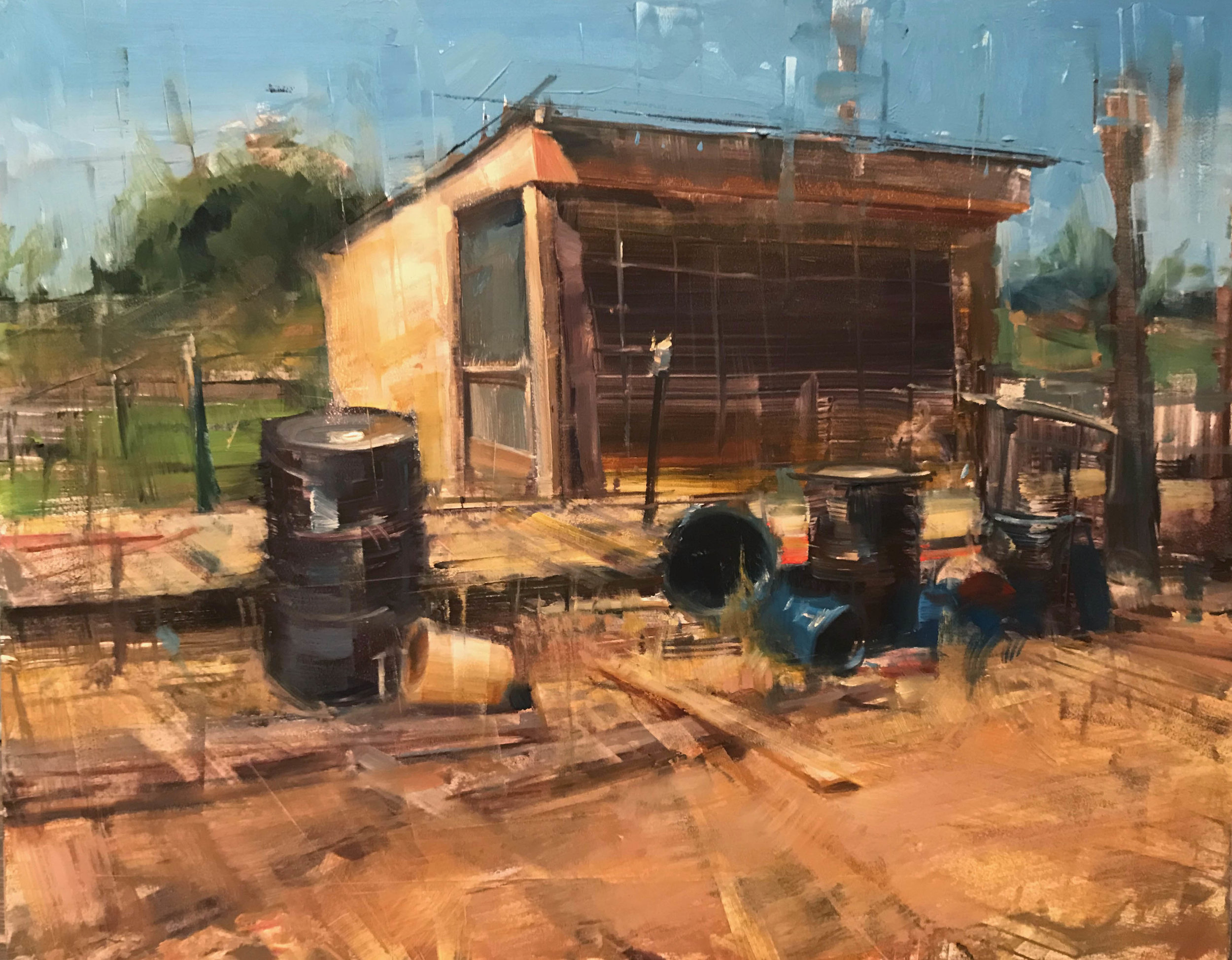 Bryan Mark Taylor. Chicken Coup (2017) 11 x 14 in. Oil on panel.