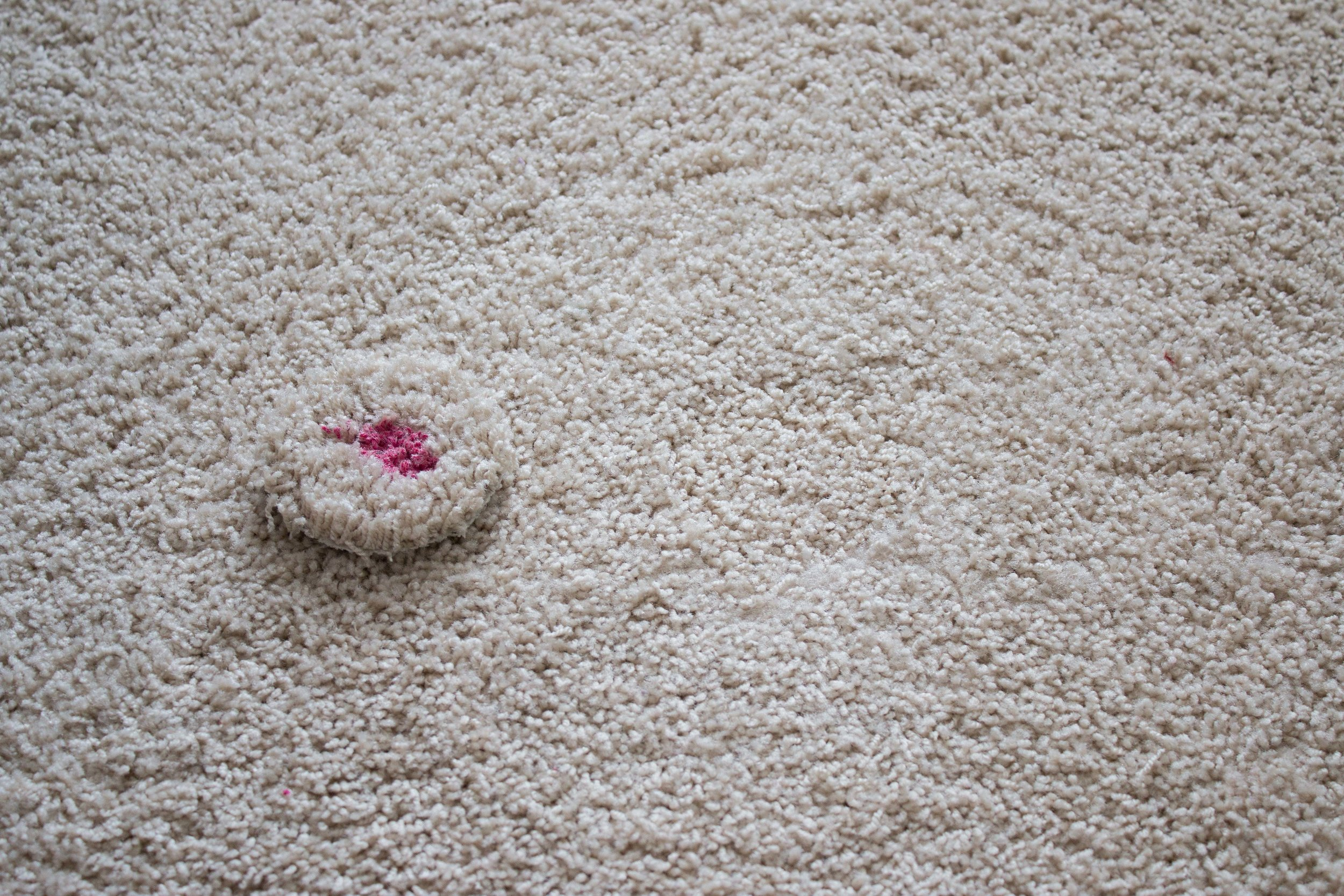 Carpet patched to remove red stain performed by Columbia Carpet Cleaning