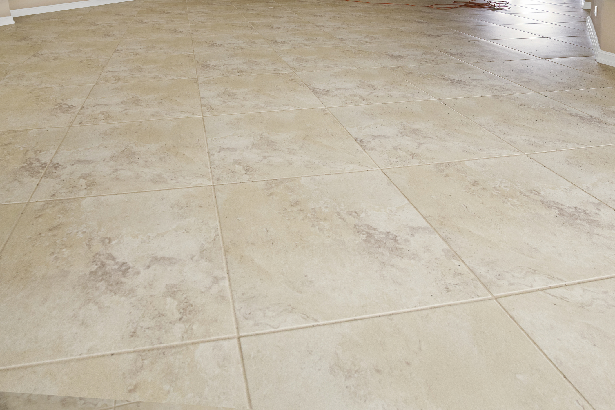 Tile and grout flooring cleaned by Columbia Carpet Cleaning.