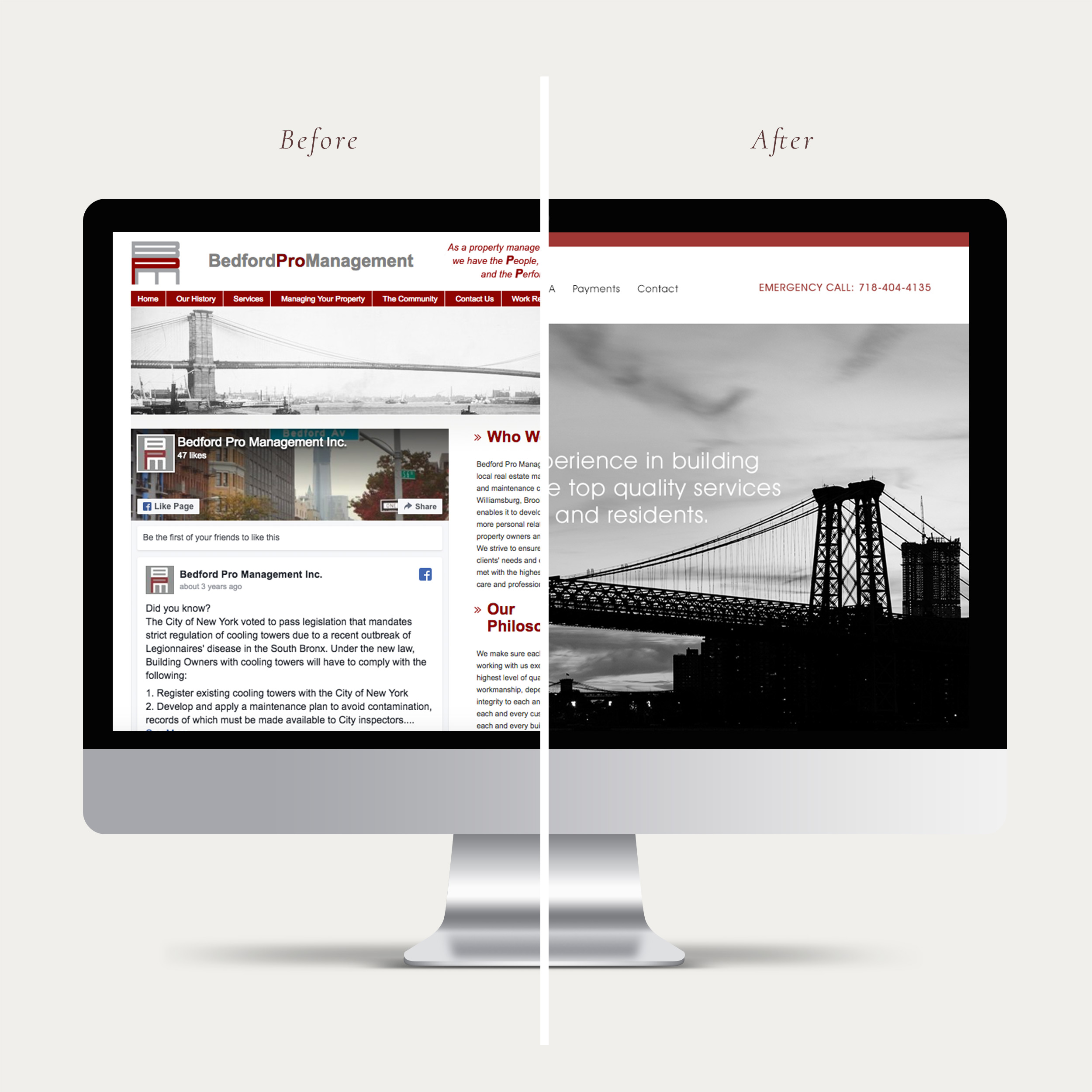 Before and after image of property management website