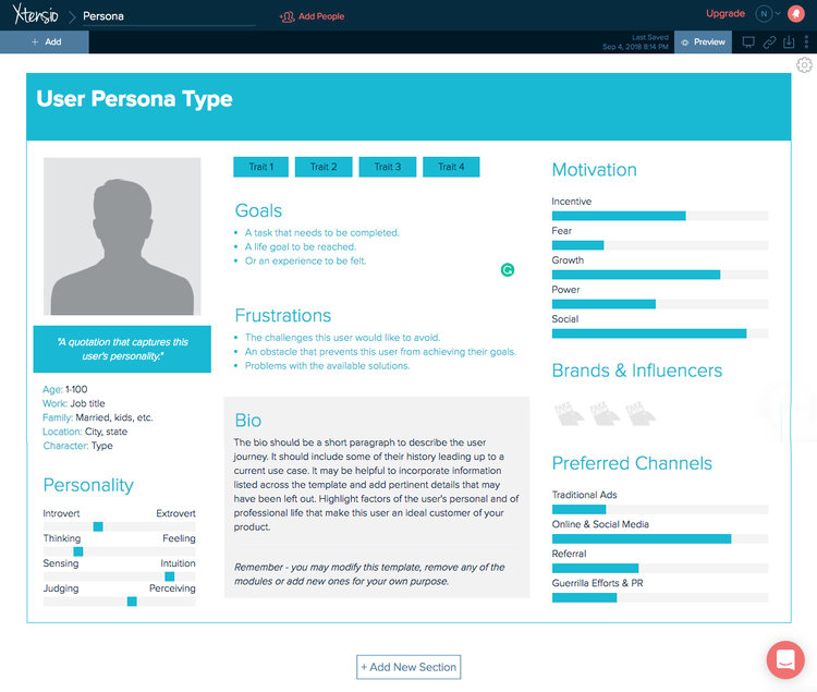 Showing an example of A personal template