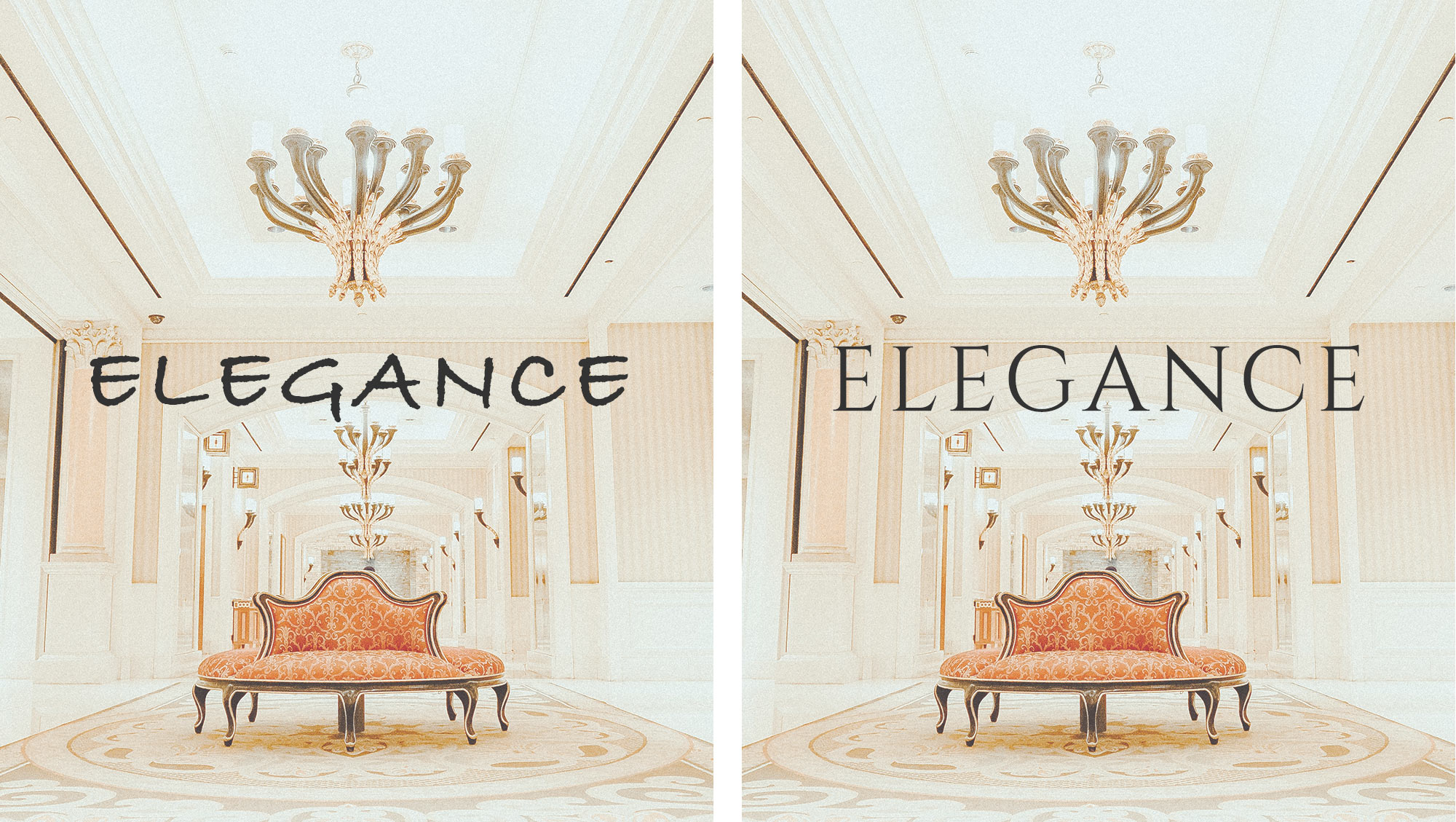 Example shows two different font styles on luxury image