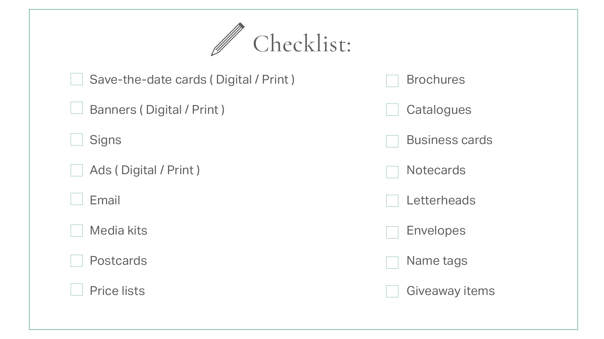 Event collateral items checklist