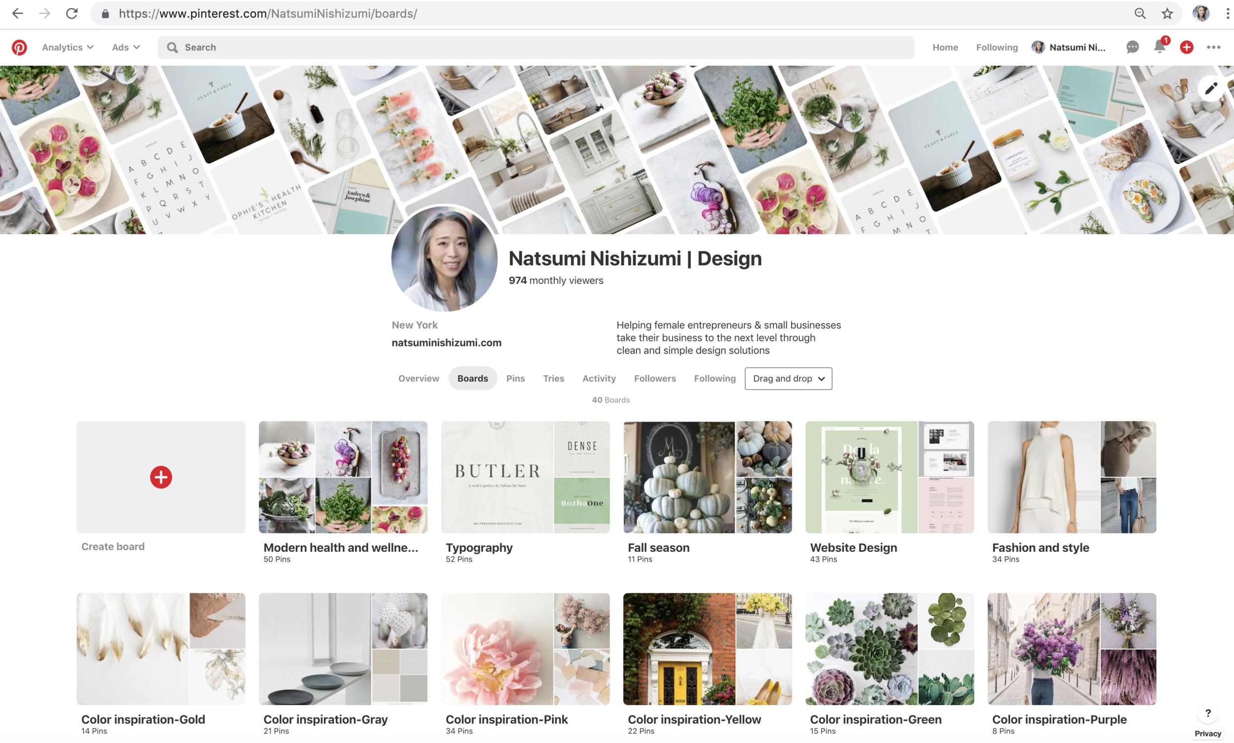 Pinterest board examples by Natsumi Nishizumi
