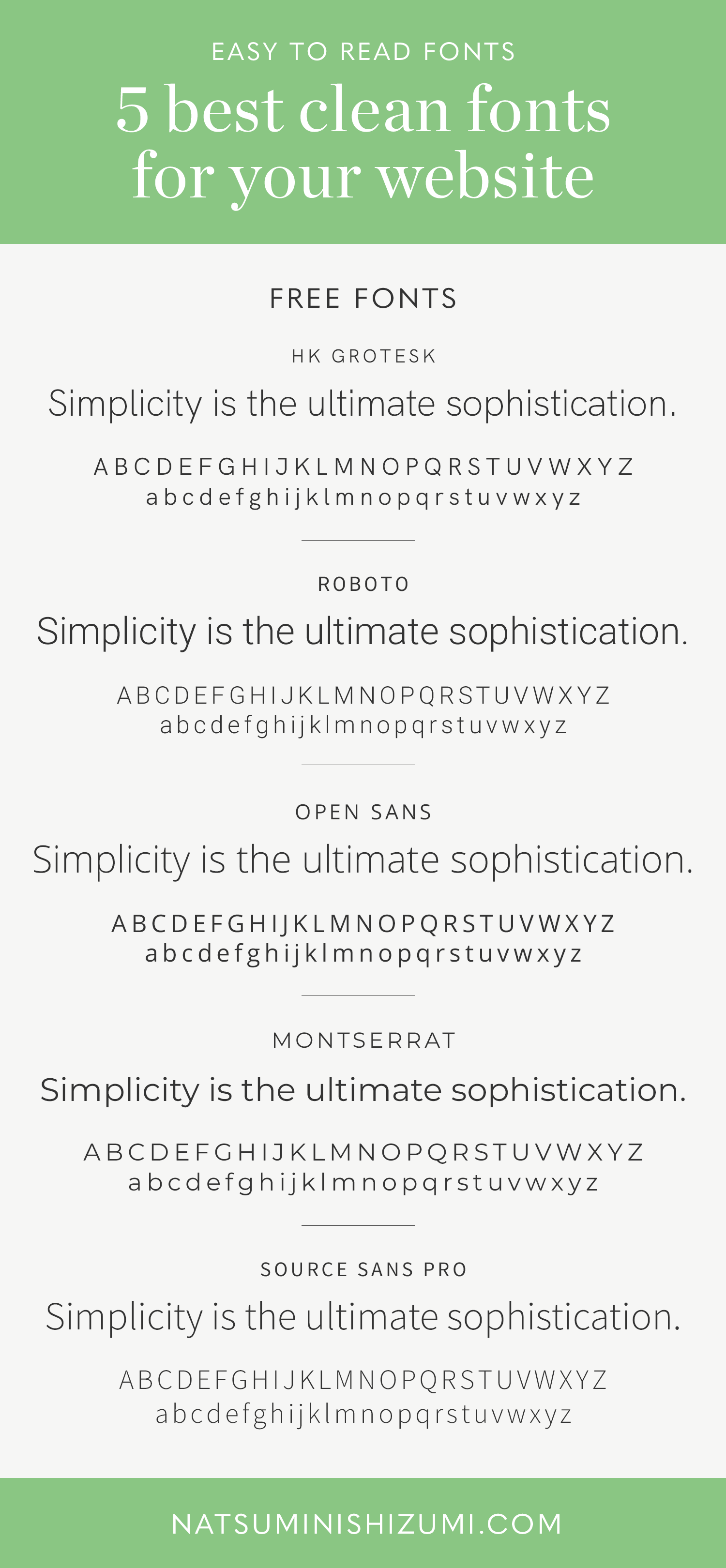 Clean fonts for a website by Natsumi Nishizumi