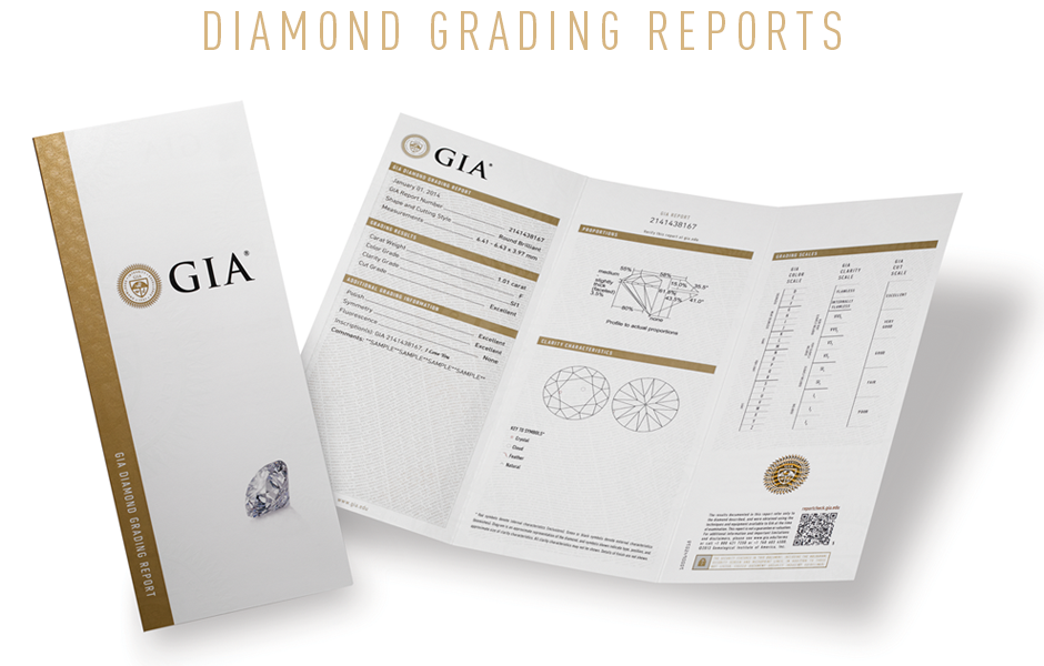 All of our diamonds are accompanied with an original GIA certificate &appraisal. The GIA certificate is a blueprint for your stone that outlines its special characteristics including the weight, shape,clarity, color and measurements.