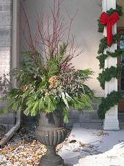 Red dogwood, pine, cedar, magnolia leaves, pepperberries, hydrangea blooms, seeded eucalyptus